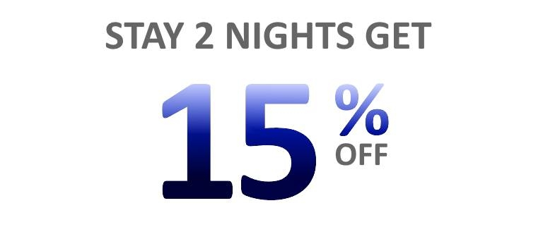 Get 15% off when you stay 2 or more consecutive nights